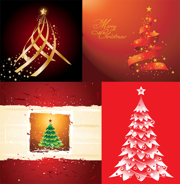 Christmas trees, the stars vector