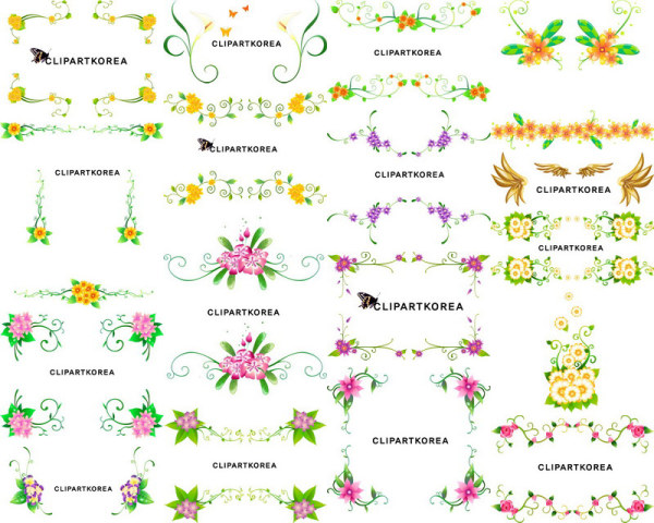 Vector flowers and lace pattern