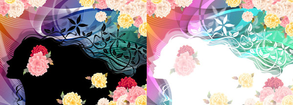 Woman with flowers Vector material -5