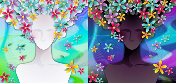 Woman with flowers Vector material -3