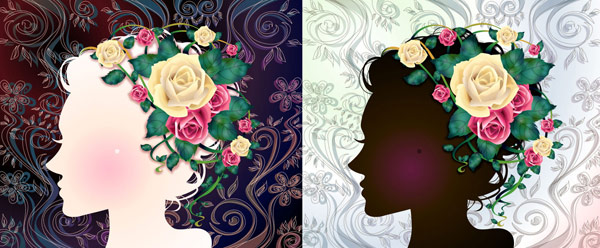 Woman with flowers Vector material -1