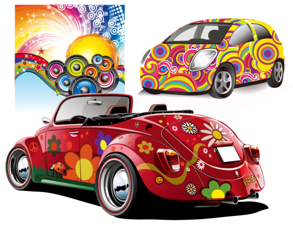 Disco party and car vector