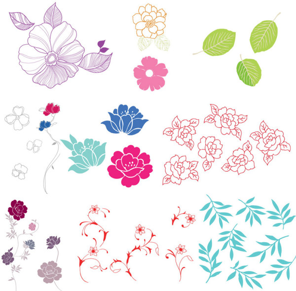 A simple case of flowers, leaves vector