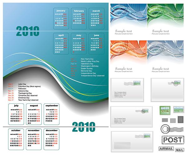 2010 calendar, lines and e-mail vector material