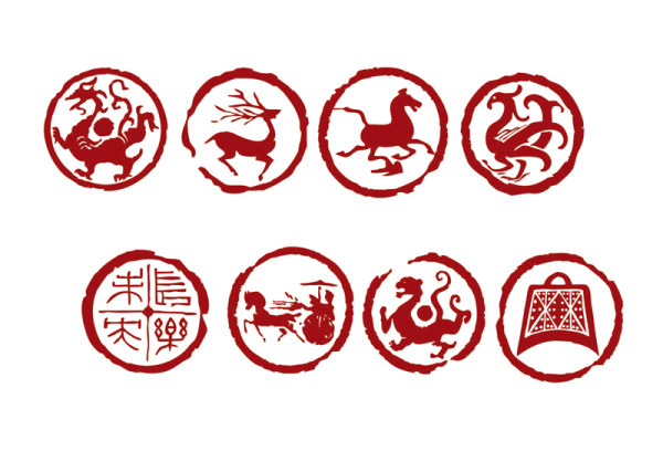 Dragon, tiger, birds, Yan, deer, horse