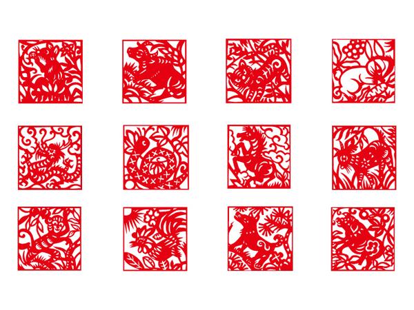 Zodiac paper-cut vector material
