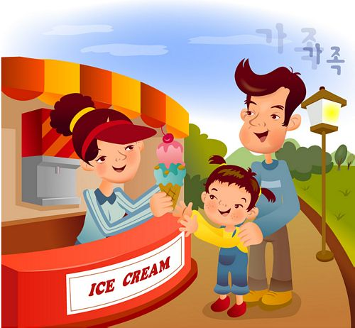 iClickart Cartoon Family illustrator vector material -9