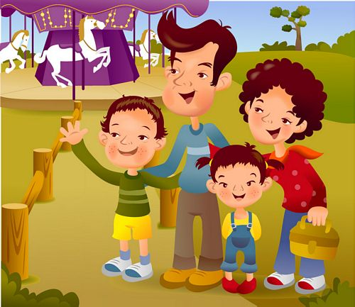 iClickart Cartoon Family illustrator vector material -8
