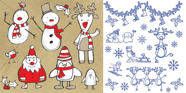 Elk, socks, bib, scarf, ski, decoration vector