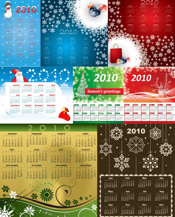 2010 calendar template vector