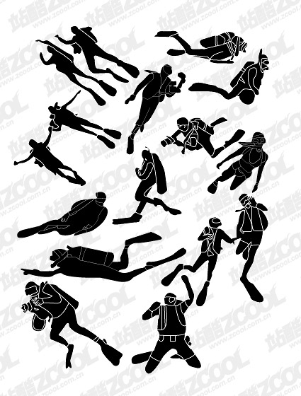 People silhouettes vector material diving