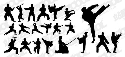 Kung Fu Action Silhouette Vector