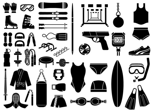 Various sketch elements of vector material - Sports equipment, equipment type (51 elements)