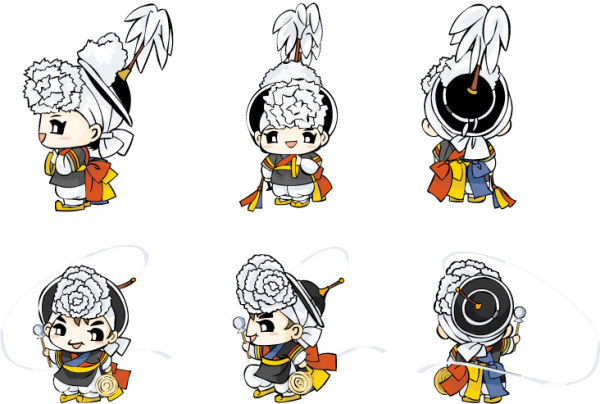 Korean traditional costume dolls vector