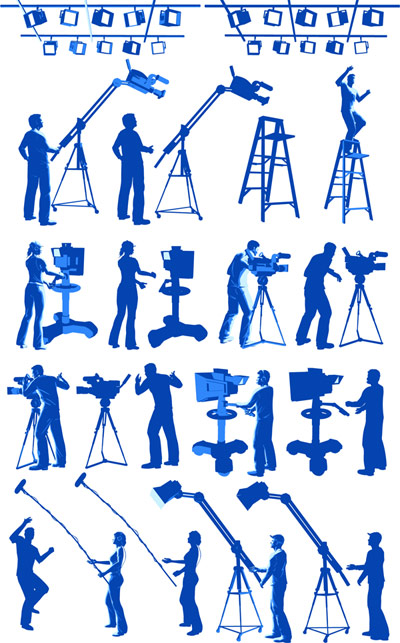 Film equipment, lighting, photographers, herringbone ladder vector