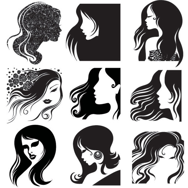 Female head, hair vector