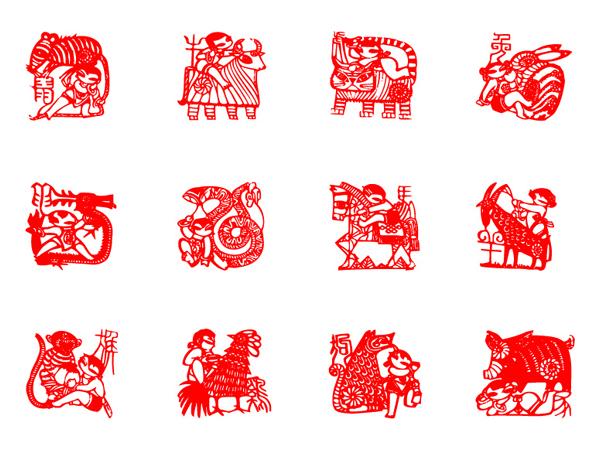 Zodiac paper-cut vector