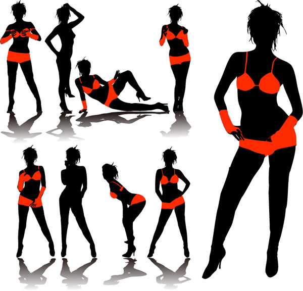 Underwear model silhouette vector