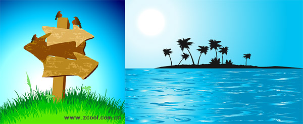 Coconut palm and Sea Island Guidepost Vector