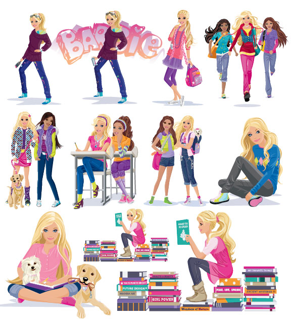 Girls, books, puppy vector