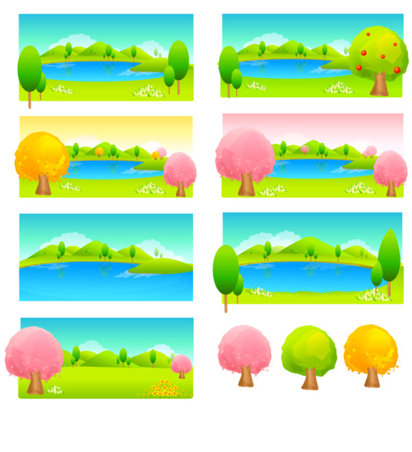 Trees and lake color vector