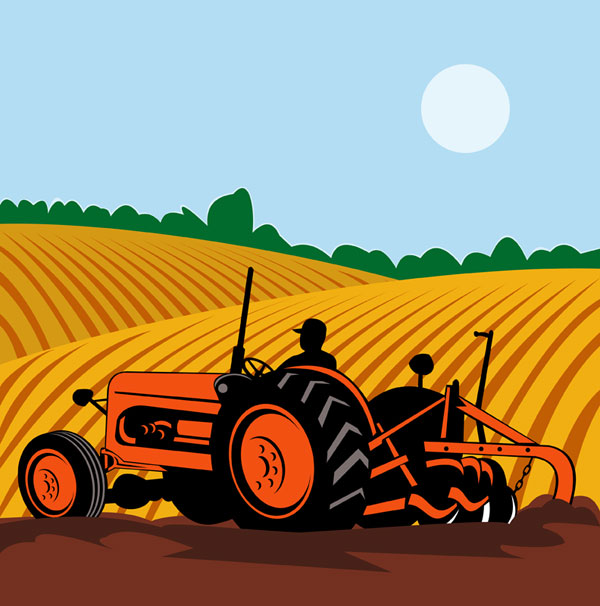 Farming, machinery, field vector