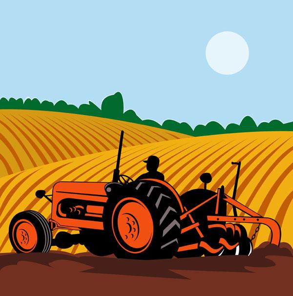 Farming, machinery, field vector