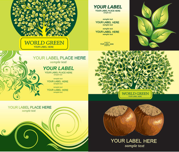 Trees, chestnuts card templates