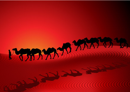 Camel Desert Caravan Sunset Silhouette Red Background Vector