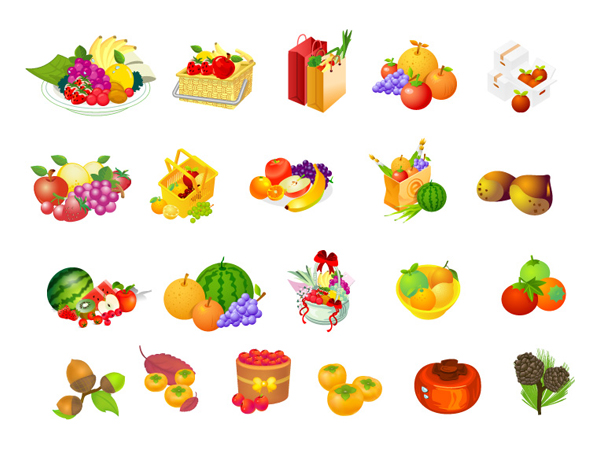 Fruit basket, hazelnut, persimmon vector