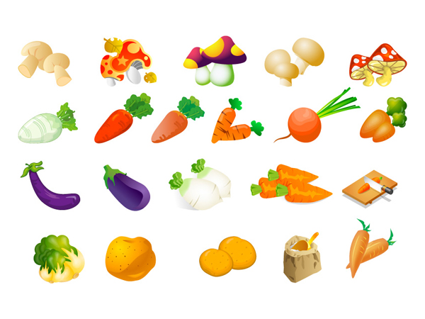 Vector vegetables - cabbage, potatoes, rice, eggplant and mushrooms radish
