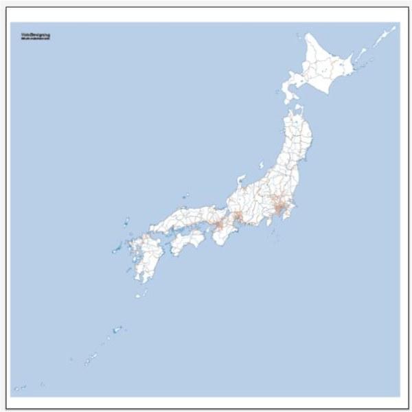 Japan Map + railway network vector