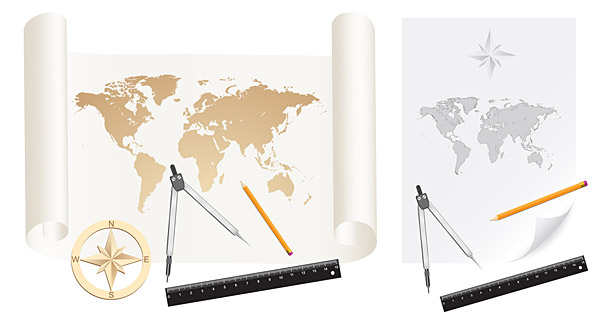Maps, vector material, paper, paper rolls, the world map