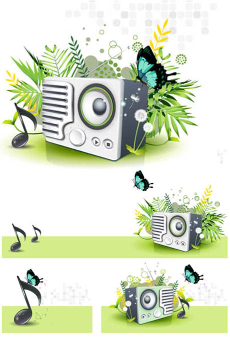 Music Speaker butterfly Dandelion Green Spring Vector Material