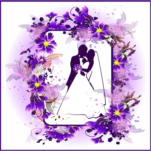 Marriage, kissing, flowers vector material