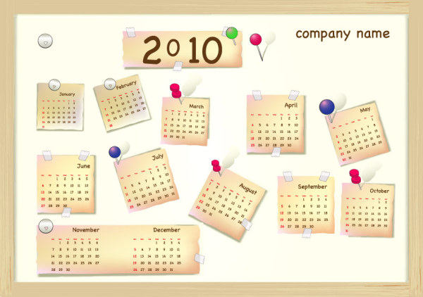 2010 New Year Calendar Vector