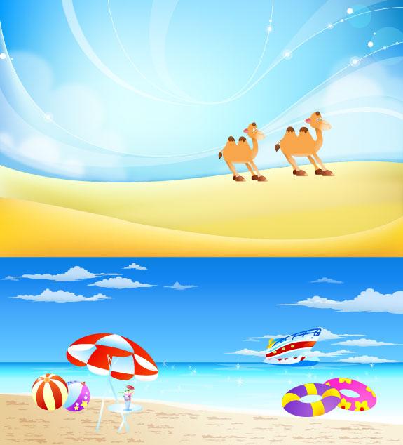 Desert, camels, sand, sun umbrella, buoy