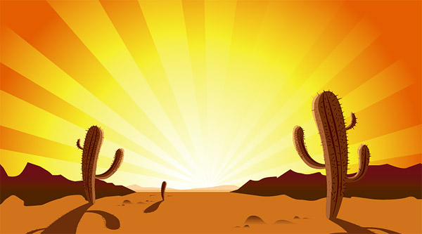 Cactus, sunset, desert, hot  vector