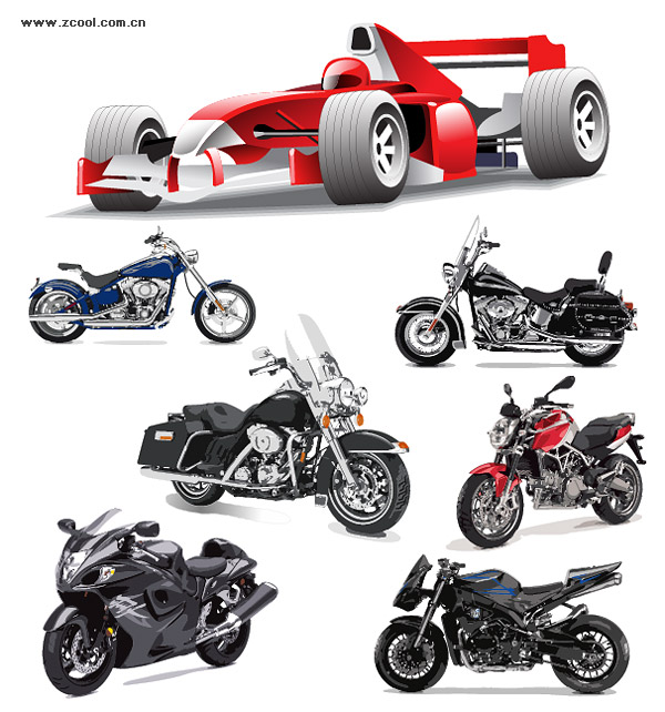 Motorcycle racing car vector material