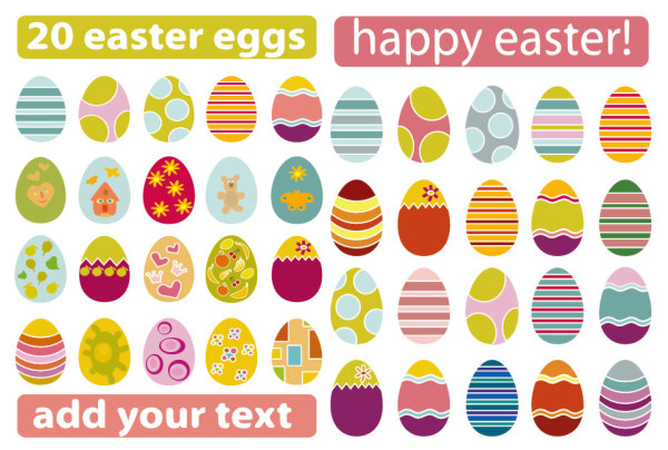 A variety of Easter eggs Vector material