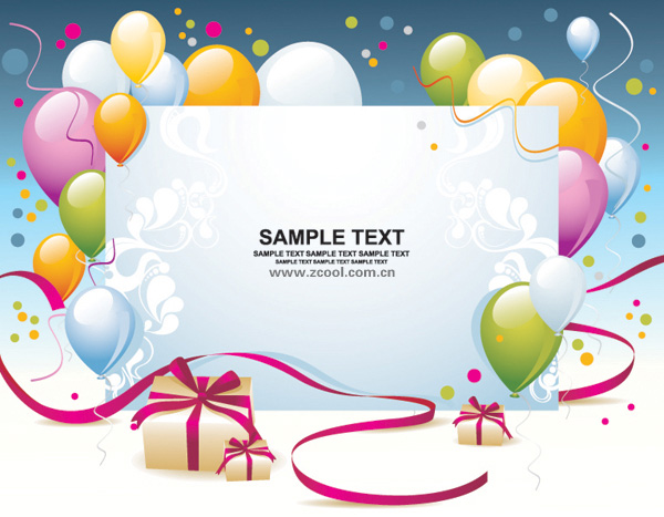 Balloon gift card background vector material