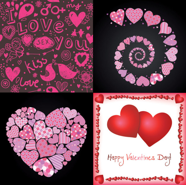 4 lovely Valentine element vector material