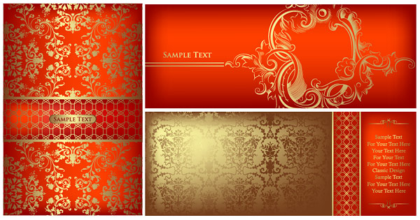 Gold ornate pattern vector material