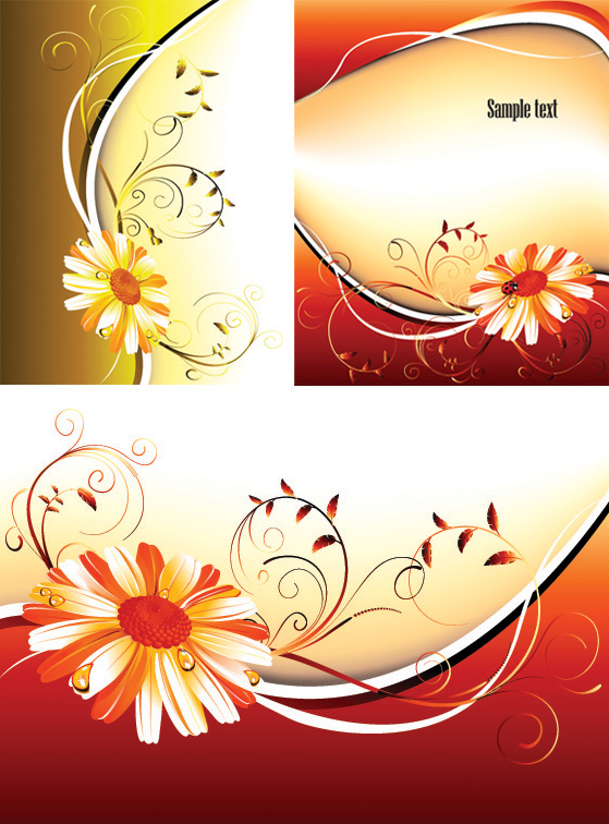 3 flower pattern background vector material