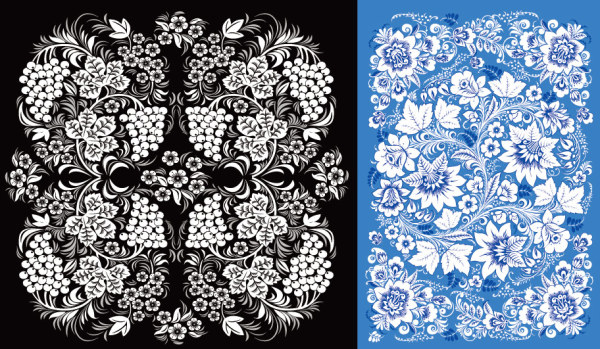 2 beautiful pattern vector material