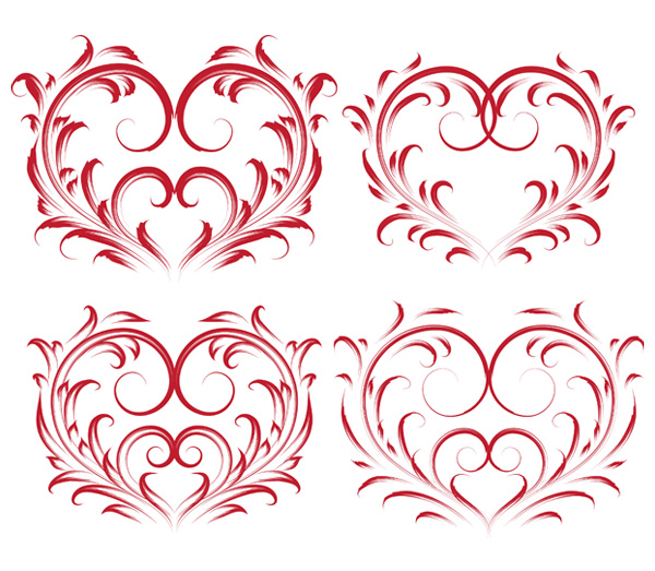 4 beautiful heart-shaped pattern vector material