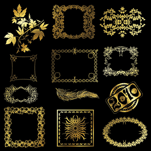 12 gold lace pattern vector material