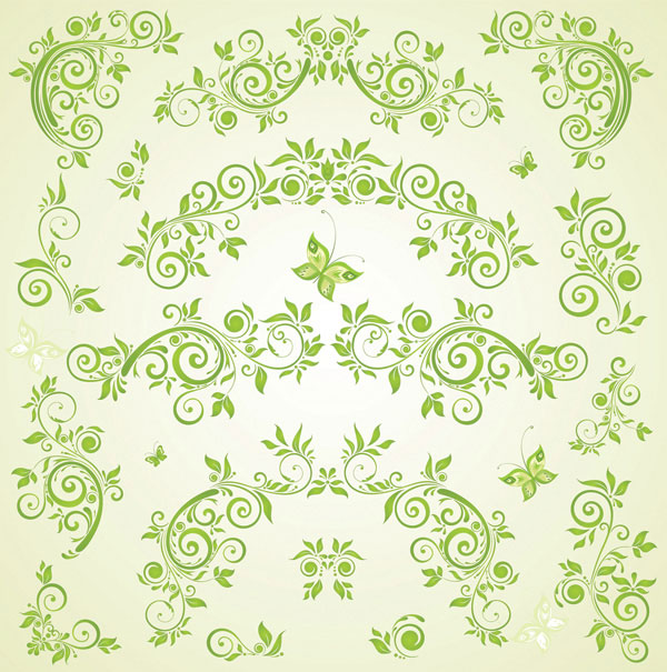 Green Butterfly European pattern vector material