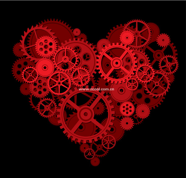 Gear formed by the large peach heart vector material