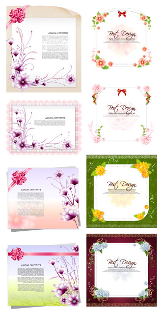 Paper flowers, ribbon vector material